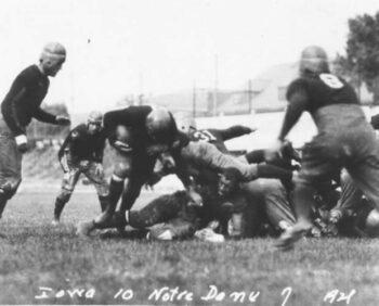 Duke Slater blocking for the Iowa Hawkeyes against Knute Rockne's Notre Dame Fighting Irish