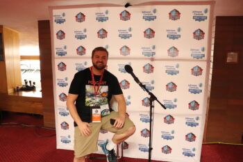 Arnie Chapman with Pro Football Hall of Fame press pass 2018