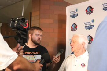 The Football History Dude interviewing Gil Brandt at 2019 Pro Football Hall of Fame Enshrinement