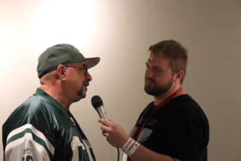 The Football History dude interviewing Howie Assa at the Pro Football Hall of Fame