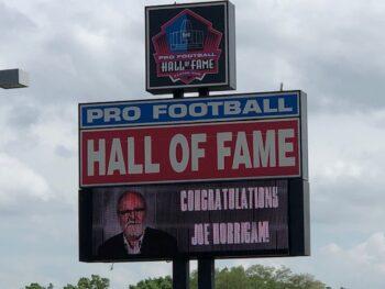 Joe Horrigan on Pro Football Hall of Fame sign for retirement