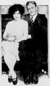 Stanford University football player Ernie Nevers with his wife Margery in 1926. Date 1926
