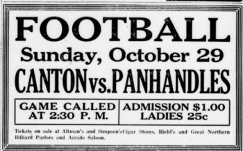 1916 advertisement of a football game on Sunday October 29 between Canton Bulldogs and Columbus Panhandles