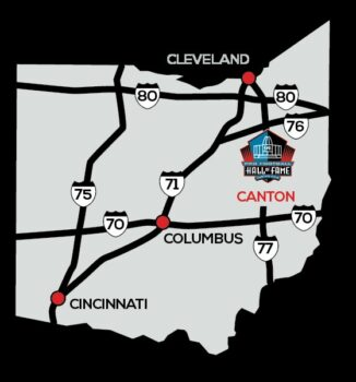 Logo of Pro Football Hall of Fame showing Canton in Ohio