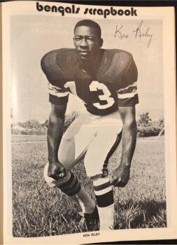 Ken Riley posing for the Cincinatti Bengals scrapbook
