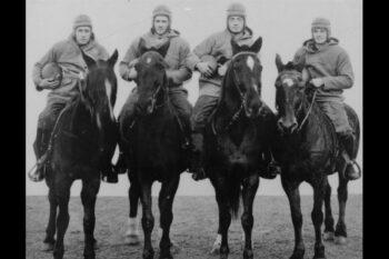 The Four Horsemen of Notre Dame on horseback. Left to right: Don Miller, Elmer Layden, Jim Crowley, and Harry Stuhldreher.