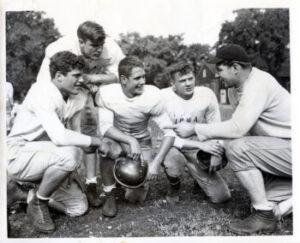 1949 Morgan Park Military Academy football team huddle